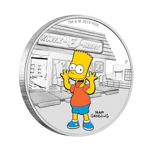 Bart Simpson monedă din argint proof 1 oz