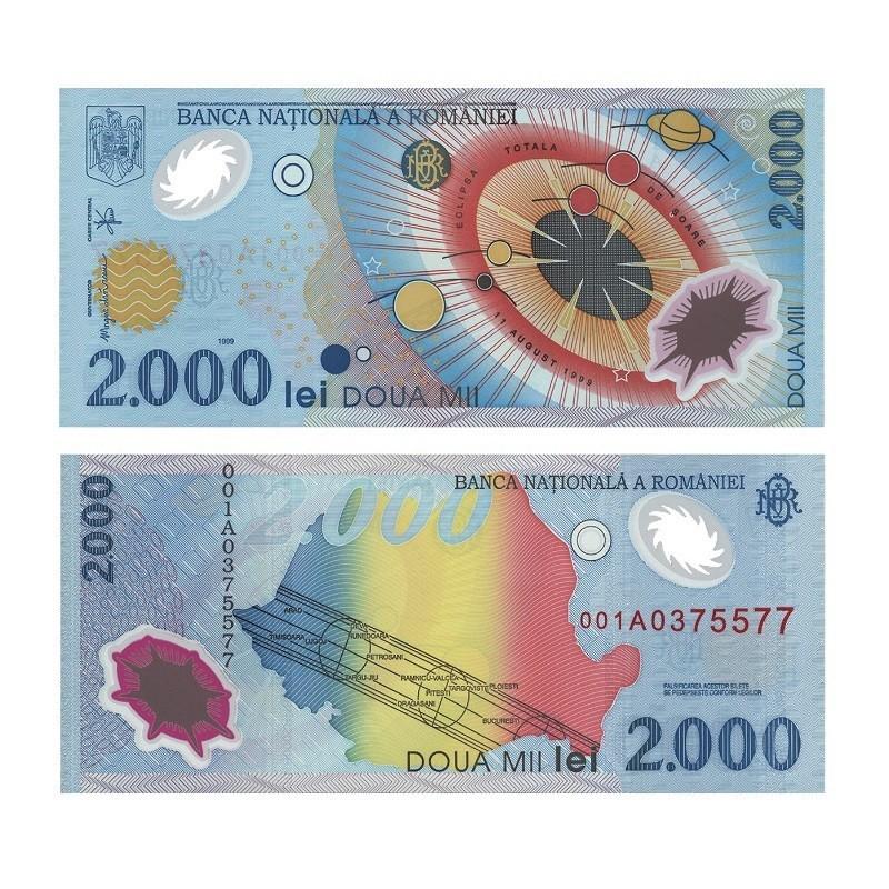 Bancnota 2000 lei – Eclipsa totală de soare 1999 | Casa de Monede