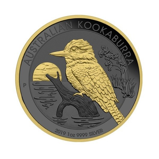 Kookaburra australiană 2019 Golden Ring monedă din argint 1 oz